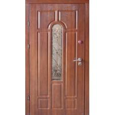"""Входная Дверь """"Арка улица с ковкой_дуб медовый"""""""